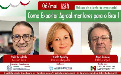 06/MAI – WEBINAR – COMO EXPORTAR PRODUTOS AGROALIMENTARES PARA O BRASIL