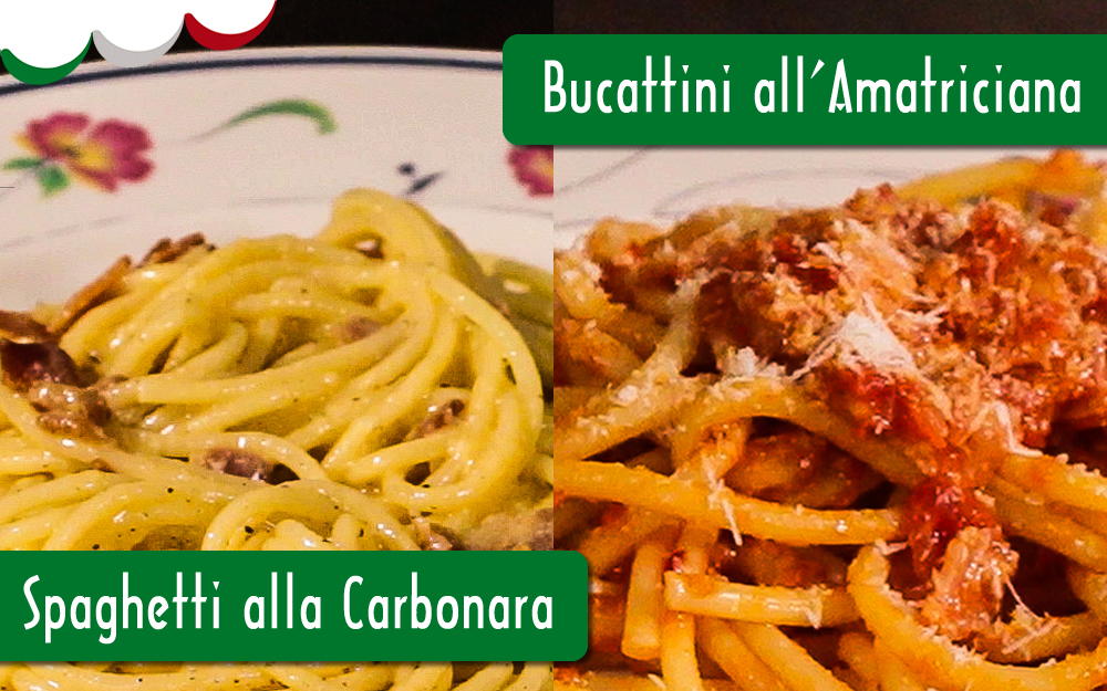 10/JUL – VÍDEO-AULA – SPAGHETTI ALLA CARBONARA E BUCATTINI ALL'AMATRICIANA