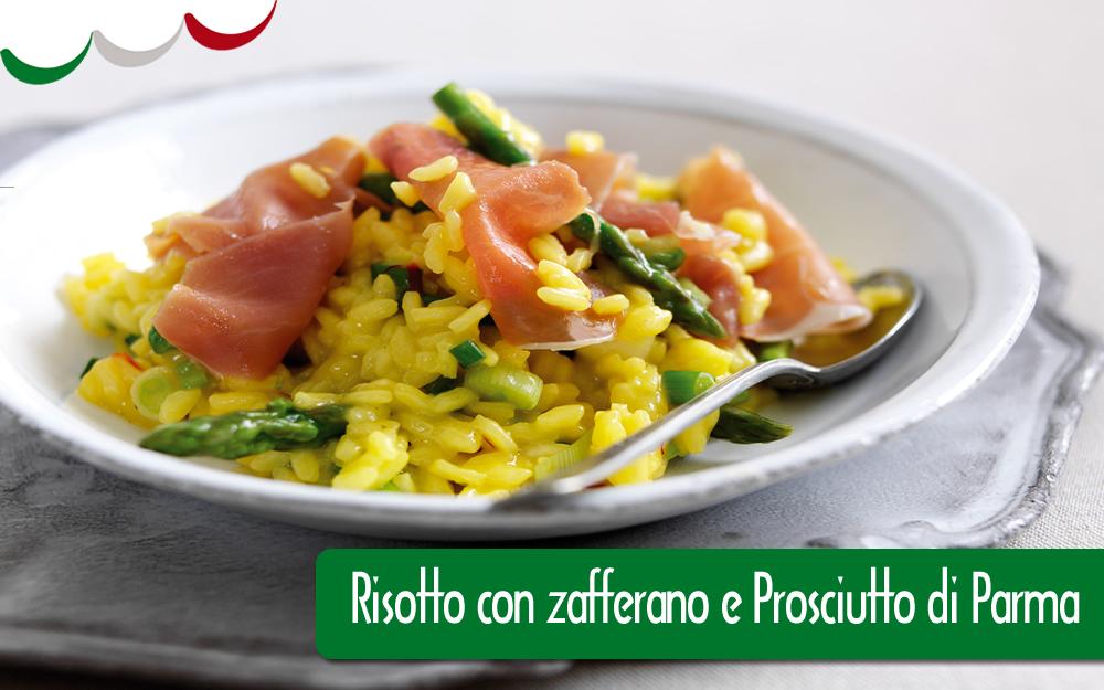 Risotto con Zafferano, Prosciutto di Parma, Asparagi e Pamigiano